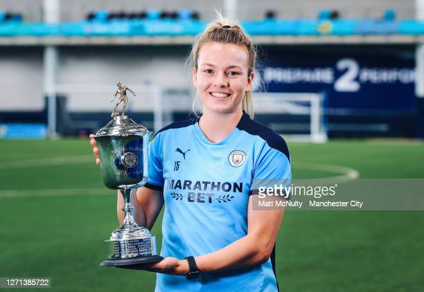 Lauren Hemp of Manchester City poses as she wins the PFA Young Player of the Year Award for the 2019/20 season at Manchester City Football Academy on...