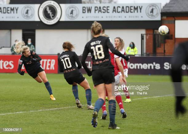 Lauren Hemp of Manchester City scores their side's second goal during the Barclays FA Women's Super League match between Arsenal Women and Manchester...