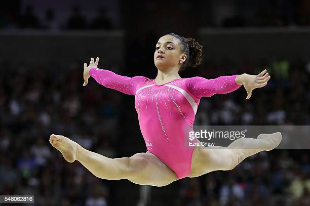 Lauren Hernandez competes in the floor exercise during Day 2 of the 2016 US Women's Gymnastics Olympic Trials at SAP Center on July 10 2016 in San...
