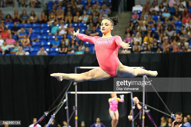 Lauren Hernandez competes in the floor exercise during day one of the 2016 PG Gymnastics Championships at Chafitz Arena on June 24 2016 in St Louis...