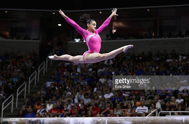 Lauren Hernandez competes on the balance beam during Day 2 of the 2016 US Women's Gymnastics Olympic Trials at SAP Center on July 10 2016 in San Jose...