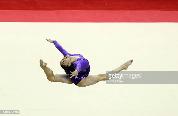 Lauren Hernandez competes on the floor exercise during Day 1 of the 2016 US Women's Gymnastics Olympic Trials at SAP Center on July 8 2016 in San...
