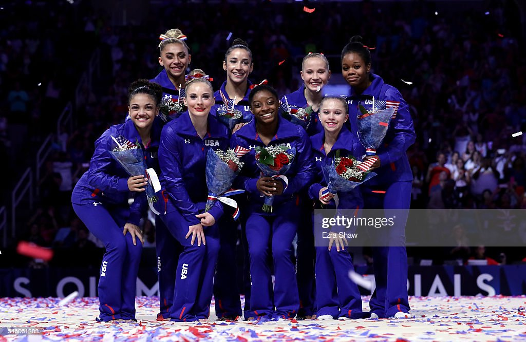 ) Lauren Hernandez, MyKayla Skinner, Simone Biles, Ragan Smith (Back Row) Ashton Locklear, Alexandra Raisman, Madison Kocian, and Gabrielle Douglas pose for a team photo after they were selected for the Olympic Team following Day 2 of the 2016 U.S. Women's Gymnastics Olympic Trials at SAP Center on July 10, 2016 in San Jose, California.