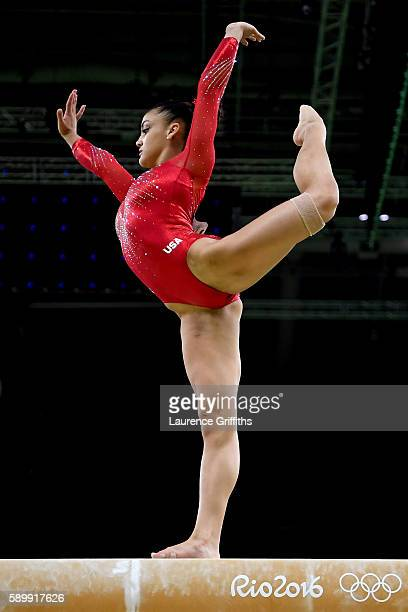 Lauren Hernandez of the United States competes in the Balance Beam Final on day 10 of the Rio 2016 Olympic Games at Rio Olympic Arena on August 15...