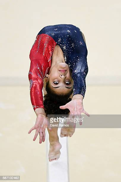 Lauren Hernandez of the United States competes on the balance beam during Women's qualification for Artistic Gymnastics on Day 2 of the Rio 2016...