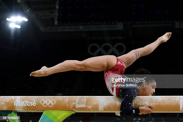 Lauren Hernandez of the United States competes on the balance beam during the Artistic Gymnastics Women's Team Final on Day 4 of the Rio 2016 Olympic...