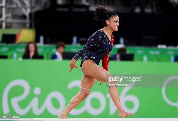Lauren Hernandez of the United States competes on the floor during Women's qualification for Artistic Gymnastics on Day 2 of the Rio 2016 Olympic...