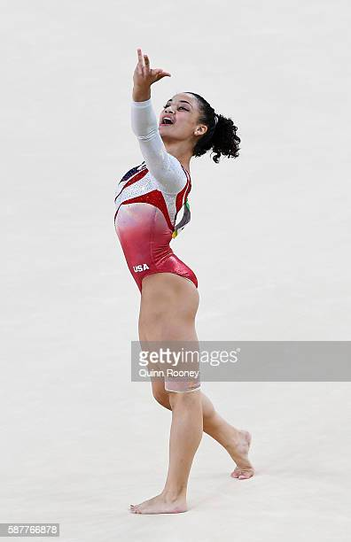 Lauren Hernandez of the United States competes on the floor during the Artistic Gymnastics Women's Team Final on Day 4 of the Rio 2016 Olympic Games...