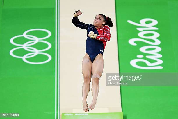 Lauren Hernandez of the United States competes on the vault during Women's qualification for Artistic Gymnastics on Day 2 of the Rio 2016 Olympic...