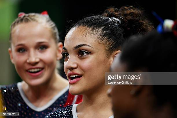 Lauren Hernandez of the United States looks on during the Artistic Gymnastics Women's Team Final on Day 4 of the Rio 2016 Olympic Games at the Rio...
