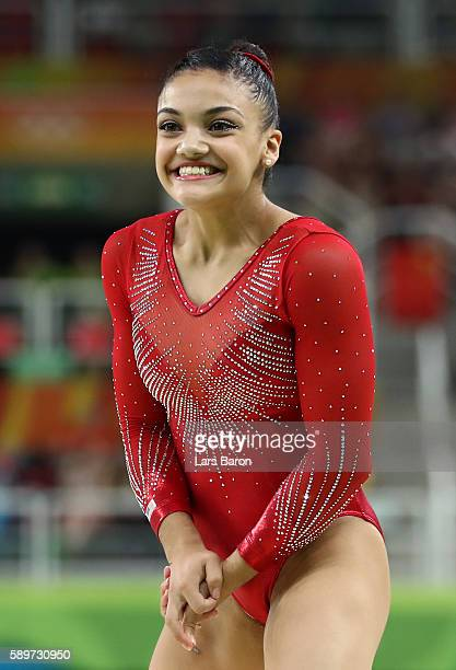 Lauren Hernandez of the United States reacts after competing in the Balance Beam Final on day 10 of the Rio 2016 Olympic Games at Rio Olympic Arena...