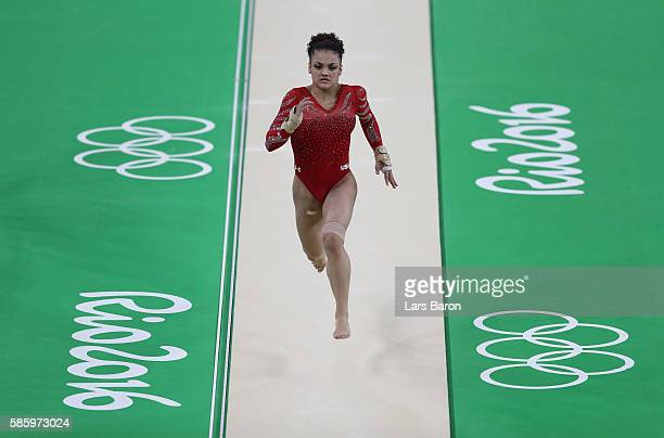 Lauren Hernandez of USA practices the vault during a training session ahead of the Artistic Gymnastics Event at the Olympic Park on August 4 2016 in...