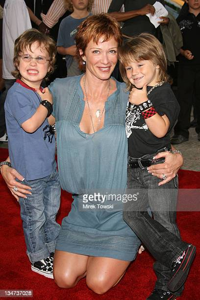 Lauren Holly and her sons Steve on the left and Azer on the right