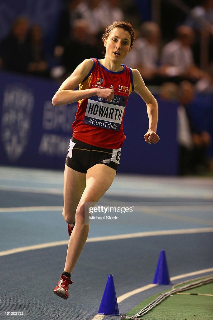 Lauren Howarth on her way to victory in the women's 3000m final during day two of the British Athletics European Trials & UK Championship at the English Institute of Sport on February 10, 2013 in Sheffield, England.