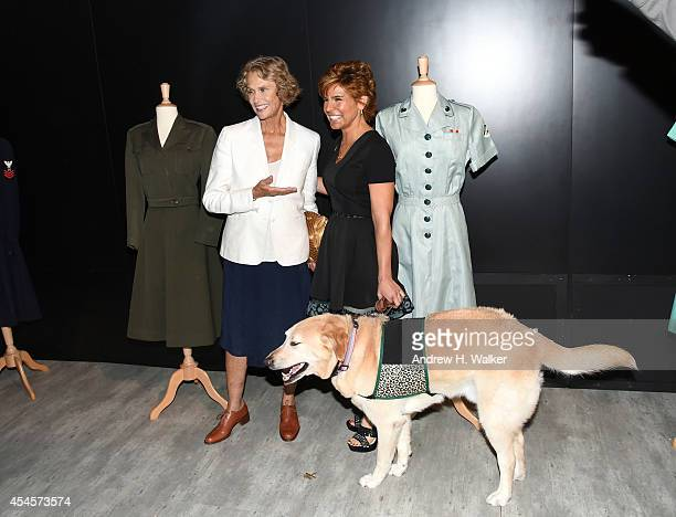 Lauren Hutton and Leslie Nicole Smith prepare backstage at Salute The Runway Sponsored By Little Black Dress Wines Fatigues To Fabulous during...
