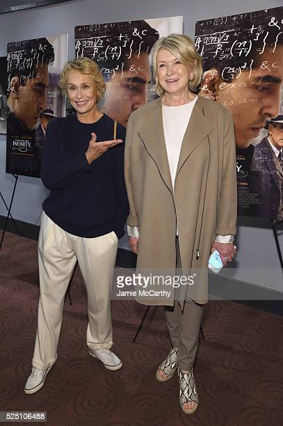 Lauren Hutton and Martha Stewart attend 'The Man Who Knew Infinity' New York Screening at Chelsea Bow Tie Cinemas on April 27 2016 in New York City