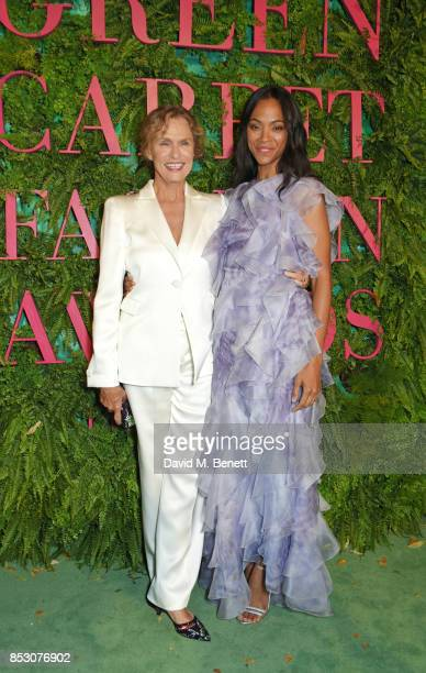 Lauren Hutton and Zoe Saldana attend the Green Carpet Fashion Awards Italia wearing Giorgio Armani for the Green Carpet Challenge at Teatro Alla...