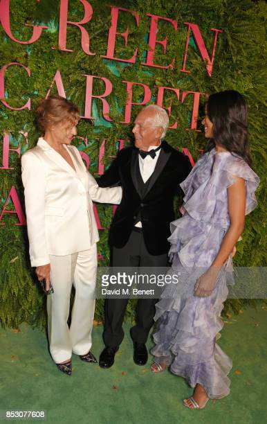 Lauren Hutton Giorgio Armani and Zoe Saldana attend the Green Carpet Fashion Awards Italia wearing Giorgio Armani for the Green Carpet Challenge at...