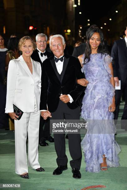 Lauren Hutton Giorgio Armani and Zoe Saldana attend the Green Carpet Fashion Awards Italia 2017 during Milan Fashion Week Spring/Summer 2018 on...
