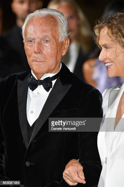 Lauren Hutton Giorgio Armani attend the Green Carpet Fashion Awards Italia 2017 during Milan Fashion Week Spring/Summer 2018 on September 24 2017 in...