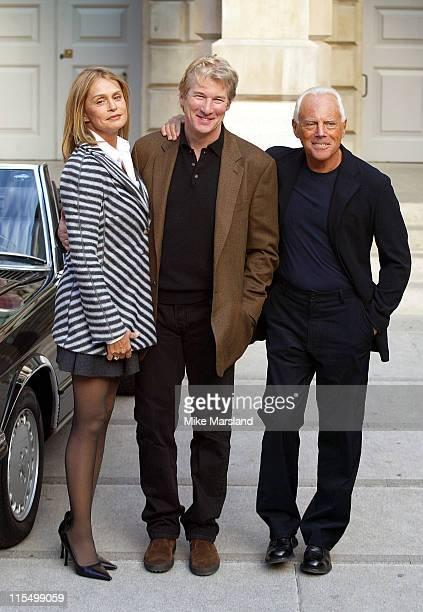 Lauren Hutton Richard Gere and Designer Giorgio Armani