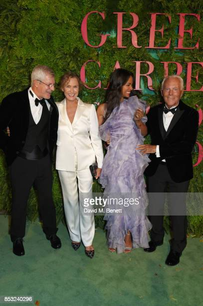 Lauren Hutton Zoe Saldana and Giorgio Armani attend the Green Carpet Fashion Awards Italia at Teatro Alla Scala on September 24 2017 in Milan Italy