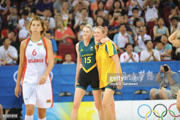 Lauren Jackson and Penny Taylor of Australia celebrates against Belarus during day one of basketball at the 2008 Beijing Summer Olympics on August 9,...