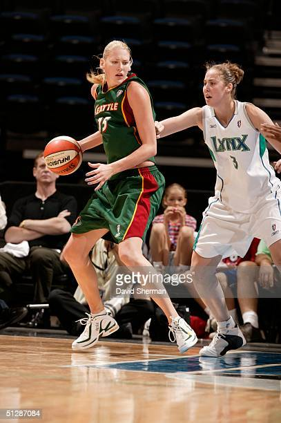 Lauren Jackson dribbles against Nicole Ohlde of the Seattle Storm of the Minnesota Lynx on September 10 2004 at the Target Center in Minneapolis...