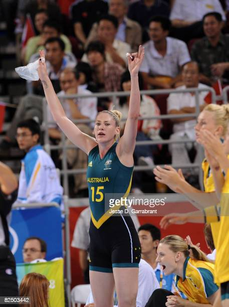 Lauren Jackson of Australia celebrates against China during the Women's Semifinals basketball game at the Wukesong Indoor Stadium during Day 13 of...