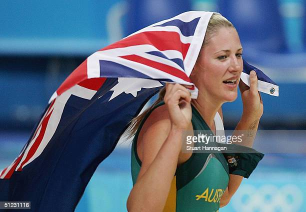 Lauren Jackson of Australia celebrates the silver medal in the women's basketball gold medal match between United States of America and Australia on...