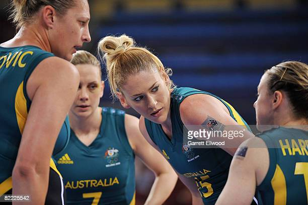 Lauren Jackson of Australia goes over the game plan against Belarus during the preliminary women's basketball game at the Beijing Olympic Basketball...