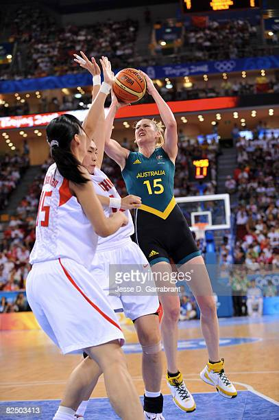 Lauren Jackson of Australia shoots against China during the Women's Semifinals basketball game at the Wukesong Indoor Stadium during Day 13 of the...