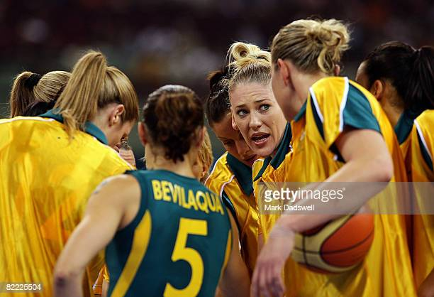 Lauren Jackson of Australian is in the huddle with her teammates while taking on Belarus in the preliminary women's basketball game at the Beijing...