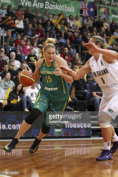 Lauren Jackson of the Opals drives to the basket during the Women's FIBA Oceania Championship match between the Australian Opals and the New Zealand...