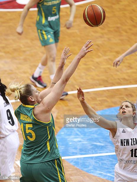 Lauren Jackson of the Opals takes a shot during the Women's FIBA Oceania Championship match between the Australian Opals and the New Zealand Tall...