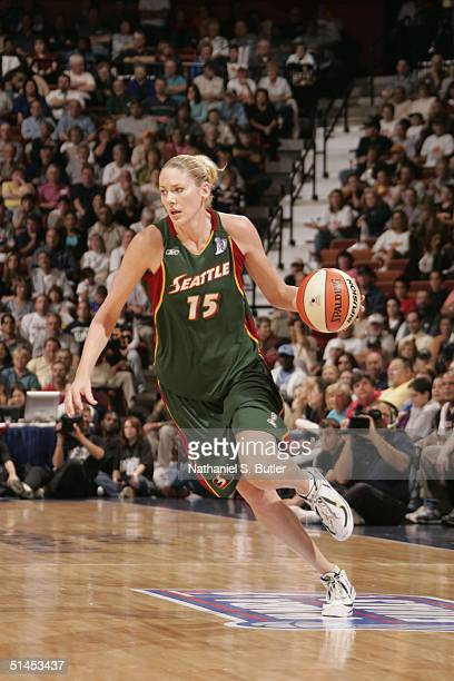 Lauren Jackson of the Seattle Storm drives against the Connecticut Sun during Game 1 of the 2004 WNBA Finals on October 8, 2004 at Mohegan Sun Arena...