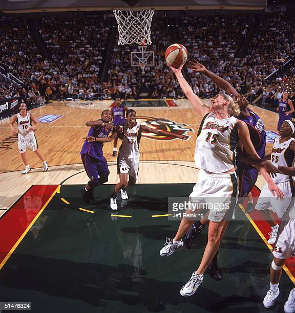 Lauren Jackson of the Seattle Storm goes to the basket against the Sacramento Monarchs in Game three of the Western Conference Finals during the WNBA...