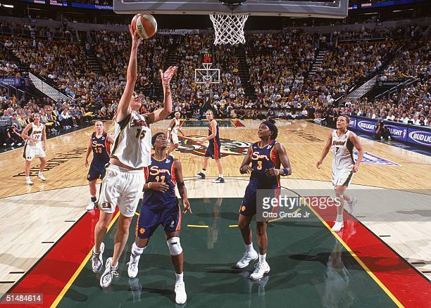 Lauren Jackson of the Seattle Storm lays up the shoot against the Connecticut Sun in Game three of the WNBA Finals on October 12 2004 at Key Arena in...