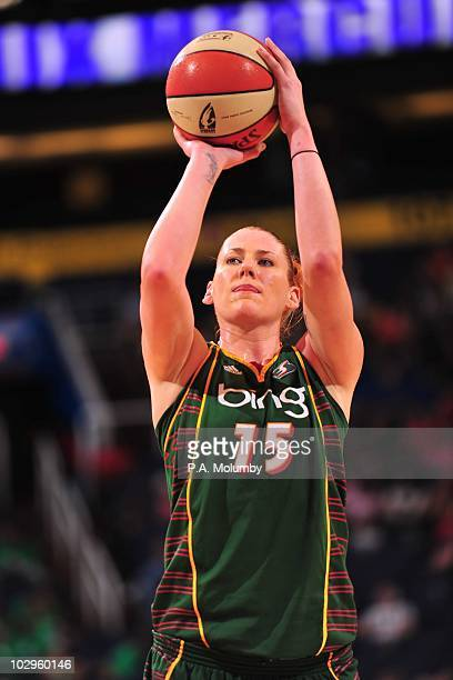Lauren Jackson of the Seattle Storm looks for a pass against the Phoenix Mercury during the WNBA game on July 14 2010 at US Airways Center in Phoenix...