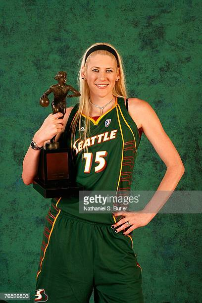 Lauren Jackson of the Seattle Storm poses with the WNBA MVP Trophy during a photo-shoot on September 5, 2007 in Auburn Hills, Michigan. NOTE TO USER:...