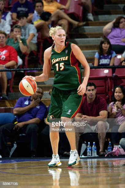 Lauren Jackson of the Seattle Storm readies for the play against the Sacramento Monarchs during a game August 20 2005 at Arco Arena in Sacramento...