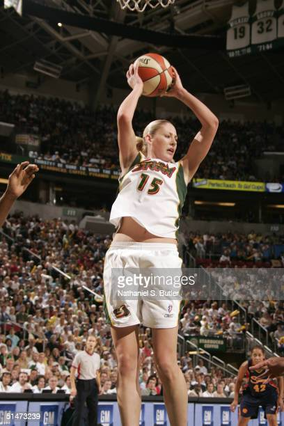 Lauren Jackson of the Seattle Storm rebounds against the Connecticut Sun during game three of the 2004 WNBA Finals on October 12 2004 at Key Arena in...