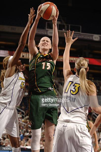 Lauren Jackson of the Seattle Storm shoots against the Phoenix Mercury in Game Two of the Western Conference Semifinals during the 2007 WNBA Playoffs...