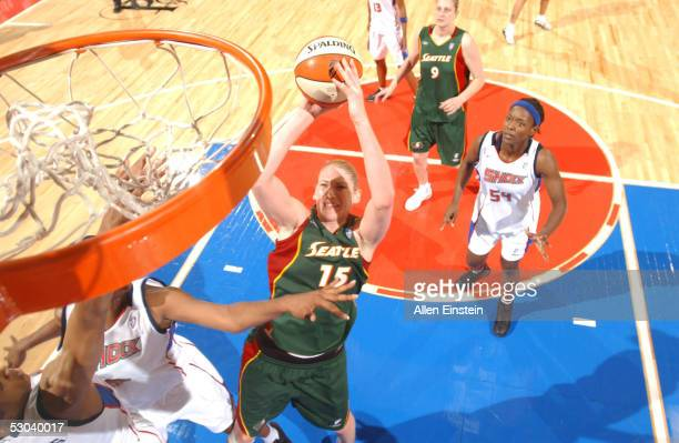 Lauren Jackson of the Seattle Storm shoots over the Detroit Shock June 8 2005 at the Palace of Auburn Hills in Auburn Hills Michigan NOTE TO USER...