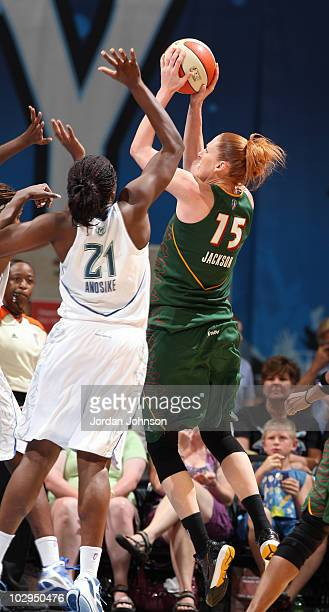 Lauren Jackson of the Seattle Storm takes a jump shot against Nicky Anosike of the Minnesota Lynx during the game on July 17 2010 at the Target...
