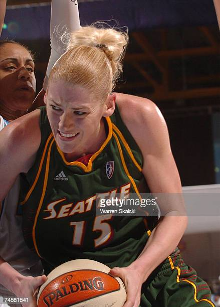 Lauren jackson off the Seattle Storm is defended by Candace Dupree of the Chicago Sky at the UIC Pavilion June 12, 2007 in Chicago, Illinois. Seattle...