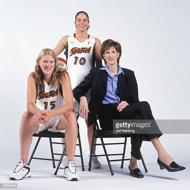 Lauren Jackson Sue Bird and head coach Anne Donovan of the Seattle Storm pose for a portrait on April 30 2003 in Seattle Washington NOTE TO USER User...