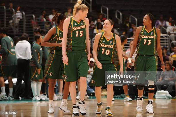 Lauren Jackson Sue Bird and Yolanda Griffith of the Seattle Storm walk onto the court during the game against the Los Angeles Sparks on June 24 2008...