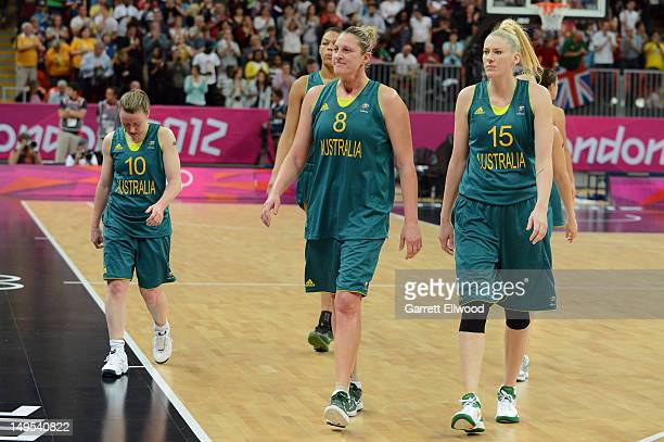 Lauren JacksonSuzy Batkovic and Kristi Harrower walk against France at the Olympic Park Basketball Arena during the London Olympic Games on July 30...
