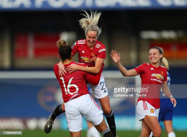 Lauren James of Manchester United celebrates with team mate Millie Turner after scoring their side's first goal during the Barclays FA Women's Super...